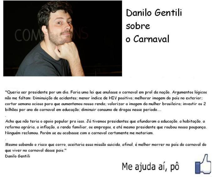 Danilo Gentili, carnaval e o povo brasileiro